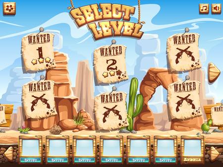 Voorbeeld van een level selectie scherm voor het computerspel Wild West