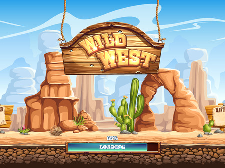west: Example of the loading screen for a computer game Wild West