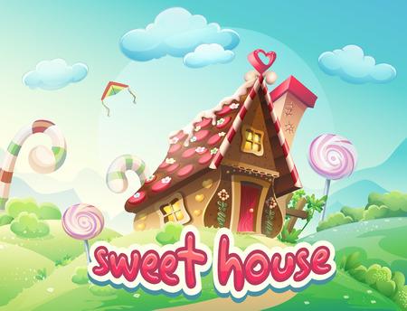 Illustratie Gingerbread House met de woorden zoete huis