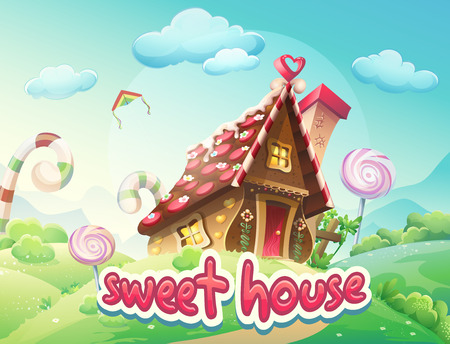 jengibre: Ilustración Gingerbread House con las palabras dulces casa