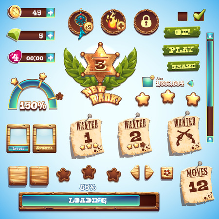 old cowboy: Big set of cartoon style elements for interface design in the game Wild West