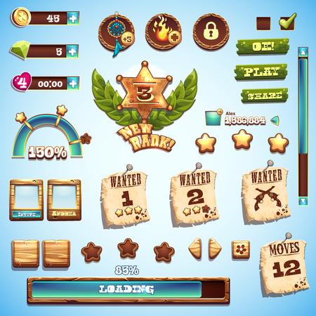 vaquero: Gran conjunto de elementos de estilo de dibujos animados para el dise�o de interfaz en el juego Wild West
