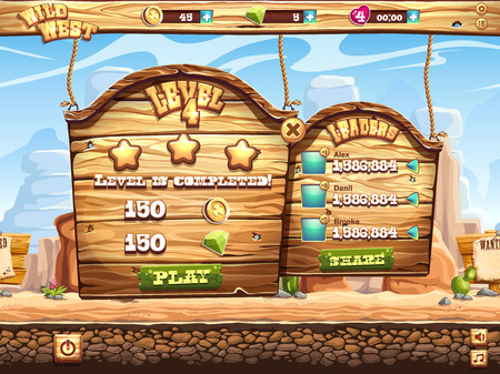 rolling landscape: Example of the game window complete the level and receive awards for playing Wild West Illustration