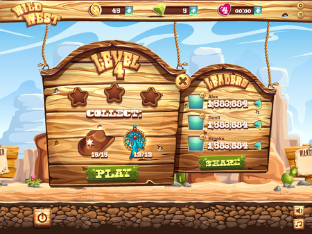 rolling landscape: Example of the game window to pass the task level in the game Wild West Illustration