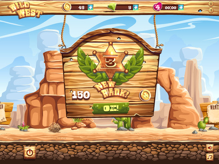 rolling landscape: Example of the window change rank in the game Wild West