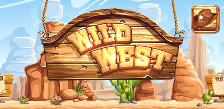 rolling landscape: Horizontal banner and icon for the game Wild West for registration in social networks