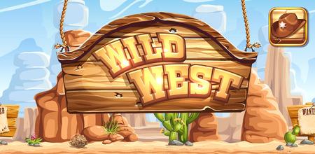 Horizontale banner en het pictogram voor de game Wilde Westen voor registratie in sociale netwerken