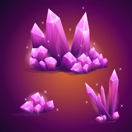 crystal background: Set of vector magical diamond crystals of various shapes