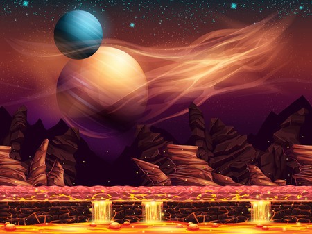 Illustration of a fantastic landscape of the red planet, horizontal seamless texture for the game design