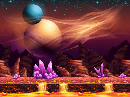 Illustration of a fantastic landscape of the red planet with purple crystals horizontal seamless texture for the game design Vettoriali
