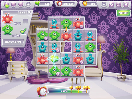 Example of the window playing field and interface computer game monsters Illustration