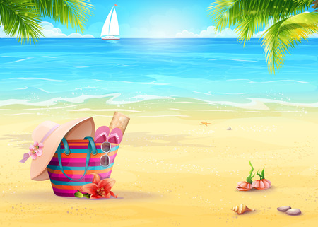 sun beach: Summer illustration with a beach bag in the sand against sea and white sailboat