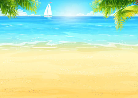Illustration Summer beach, palm trees on the background of sea and white sailboat
