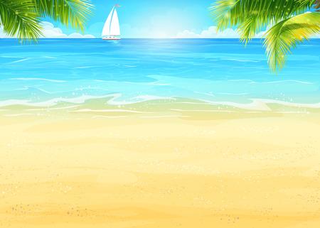 Summer beach Illustration, de palmiers sur le fond de la mer et voilier blanc Banque d'images - 40978188
