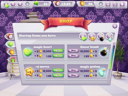 for example: Example of shop window for a computer game. Selling items,  boosters