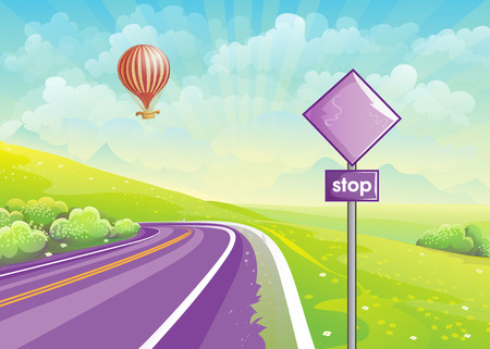 scenic highway: Summer illustration with highway, meadows and a balloon in the sky.. Set 2.