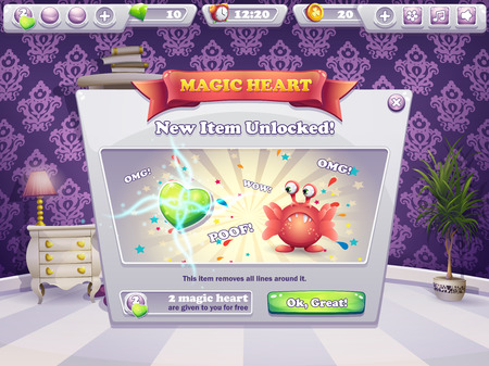 for example: The new item is unlocked - Example of the window for a computer game