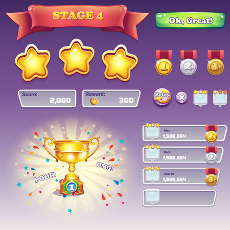 Big set of interface elements for computer games and Web dizayna