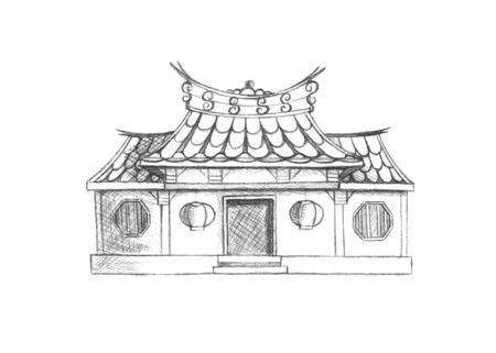 temple of heaven: Sketch of Taiwan temple. Asia.