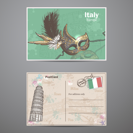 sides: Set two sides of a postcard on the theme Italy