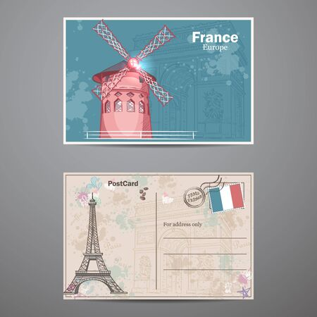 postcards: Set two sides of a postcard on the theme Paris Illustration