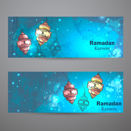 Set van twee horizontale banners voor Ramadan Kareem.