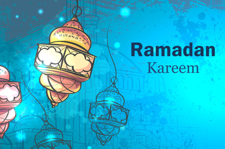 Greeting Card Ramadan Kareem. Lamps for Ramadan.