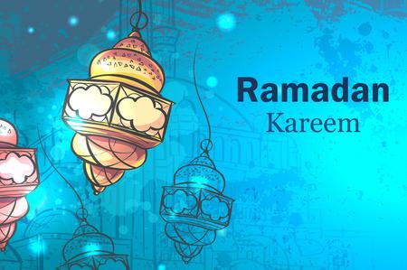 Wenskaart Ramadan Kareem. Lampen voor Ramadan.