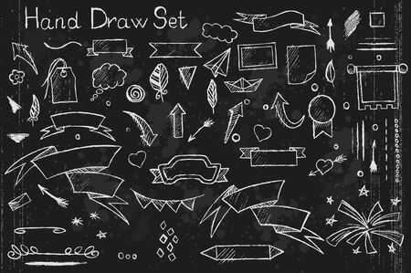 hand drown: A hand drown set on black background of pencil elements arrows, brushes, banners etc with white outlines Illustration