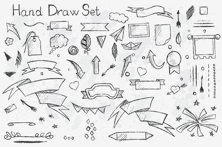 pencil drawn: A hand-drown set on white background of pencil elements: arrows, brushes, banners etc with black outlines