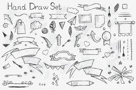 lapiz y papel: Una de ahogar a mano fijó en el fondo blanco de elementos lápiz: flechas, cepillos, banners, etc con contornos negros