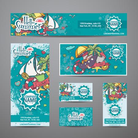 de zomer: Een grote reeks van vector uitnodigingen met zomer stijl Stock Illustratie