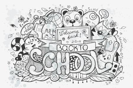 go back: Cartoon vector hand drawn doodles on a school theme. Go back to school. Black contour