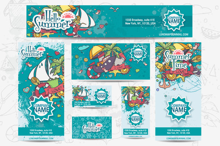 A large set of vector corporate templates on a summer theme