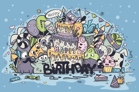 coloured background: Greeting card for birthday party with doodles