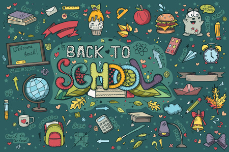 school book: A large set of hand-drawn doodles back to school Illustration