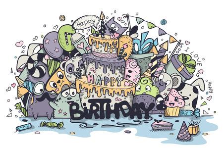 Illustration der Grußkarte zum Geburtstag der farbigen Doodles. Set 3 Standard-Bild - 43563271