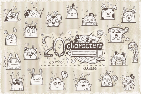 ojos negros: Conjunto de 20 caracteres dibujados a mano en garabatos