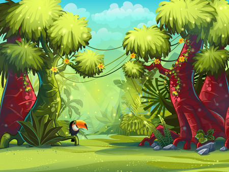 forest trees: Illustration sunny morning in the jungle with bird toucan