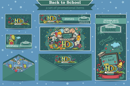 A large set of promotional items on a school theme Illustration