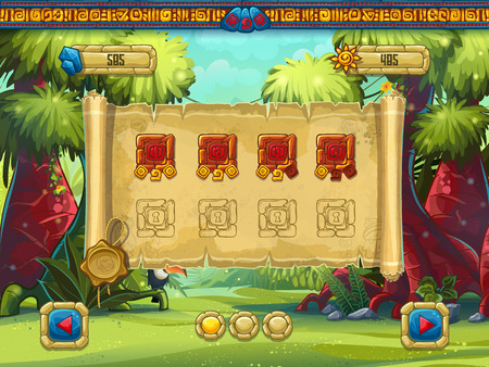 Illustration level selection for a computer game Jungle Treasures