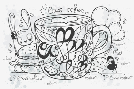 black coffee: Illustration of a hand-drawn coffee doodle with cup