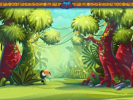 selva caricatura: Ilustración de una selva tucán y la escritura maya Vectores