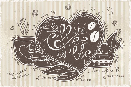ceramic: doodle lettering of coffee is life