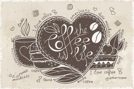 ceramica: las letras del doodle de café es la vida Vectores