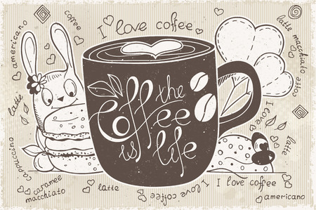 ceramic: doodles on a theme of coffee is life