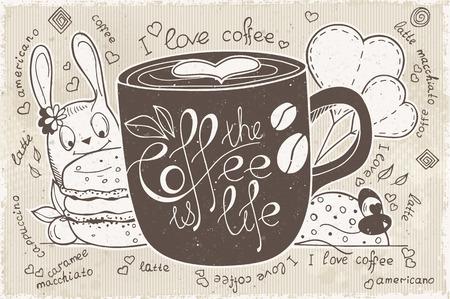 ceramica: garabatos en un tema de café es la vida