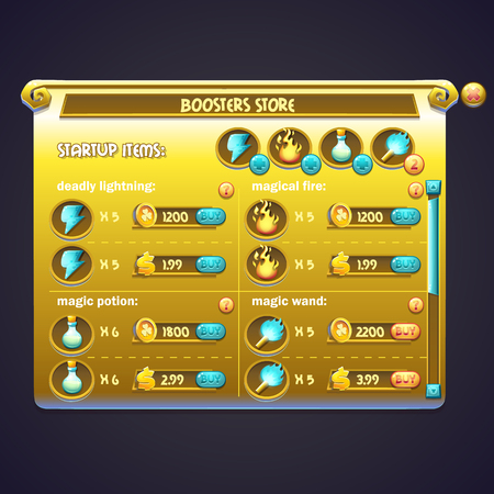 energy ranking: Example of window purchasing boosters in a computer game