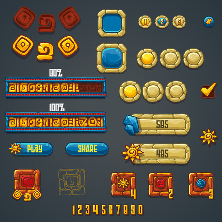 ui: Set of different elements and symbols for web design and computer games