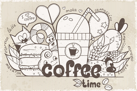 retro style: Illustration vector doodles with funny characters on the theme of the coffee in retro style